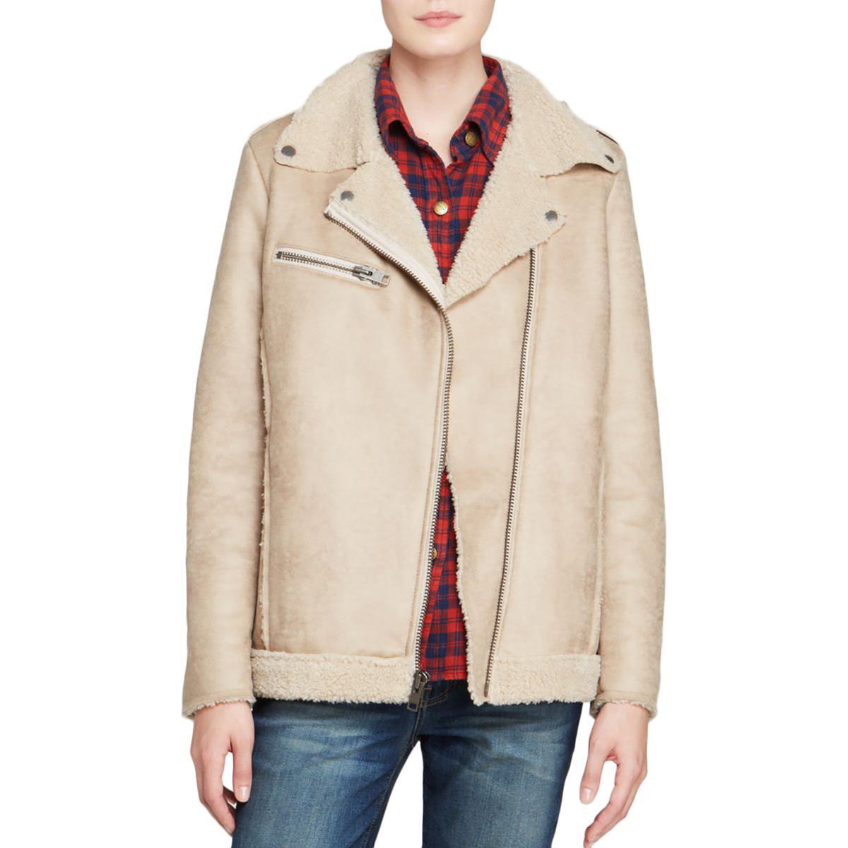 Current Elliott Womens Faux Suede Long Sleeves Jacket