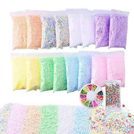 Slime Foam Beads Floam Balls – 18 Pack Pastel Microfoam Beads Kit 0.1-0.14 inch (90,000 Pcs) Micro Colors Rainbow Fruit Beads Craft Add ins DIY Kids Ingredients Flote Microbeads Sprinkle