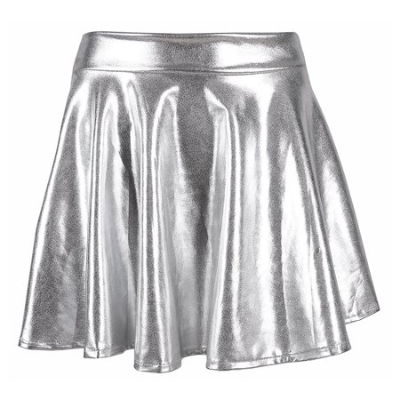 TQS Women's Shiny Liquid Metallic Pleated Skirt Skater Skirt Short Wet Look Dress Silver Small Size - Metallic Silver Skirt