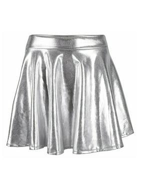 9d1abd483fa3 Product Image TQS Women s Shiny Liquid Metallic Pleated Skirt Skater Skirt  Short Wet Look Dress Silver Small Size