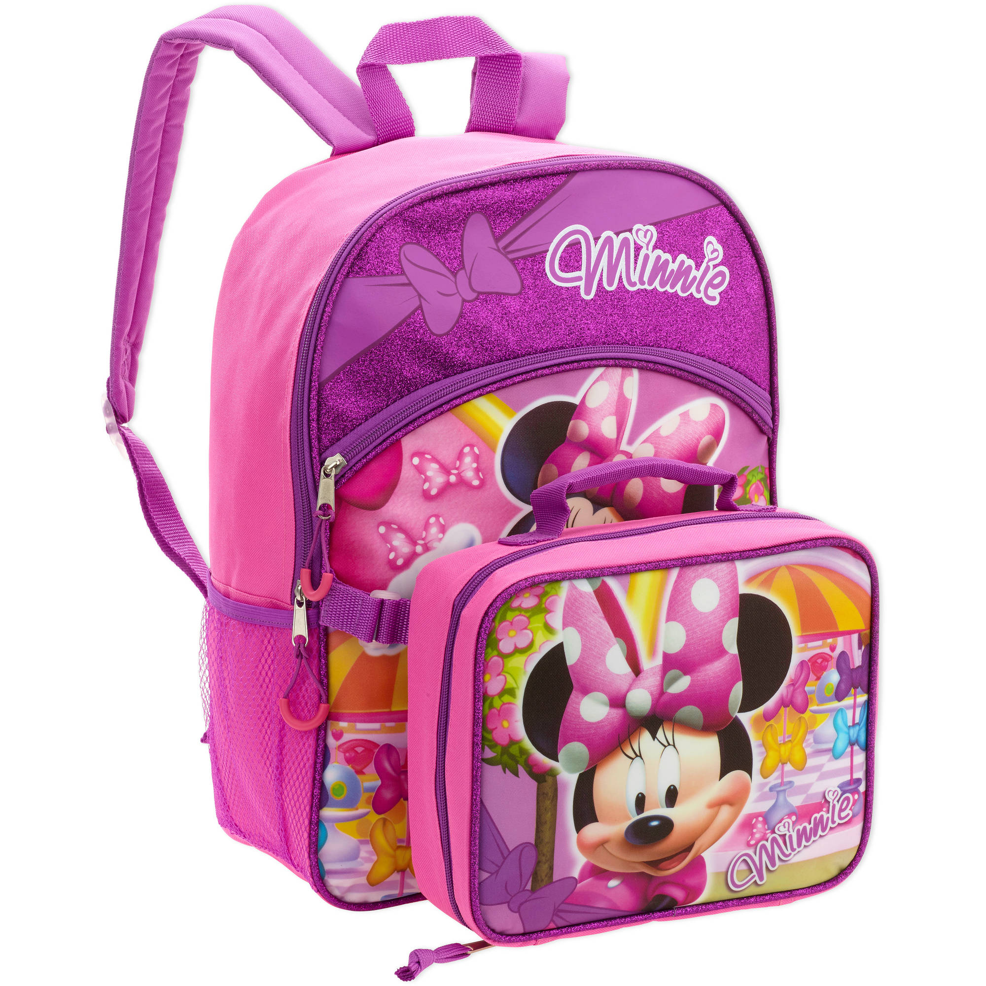 "16"" Disney Minnie Mouse Full Size Backpack w/ Detachable Lunch Bag"
