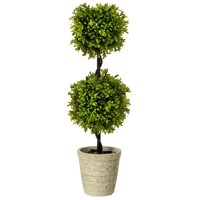 Regency 24 in. Artificial Spring Boxwood Double Ball Topiary, Two-tone Green