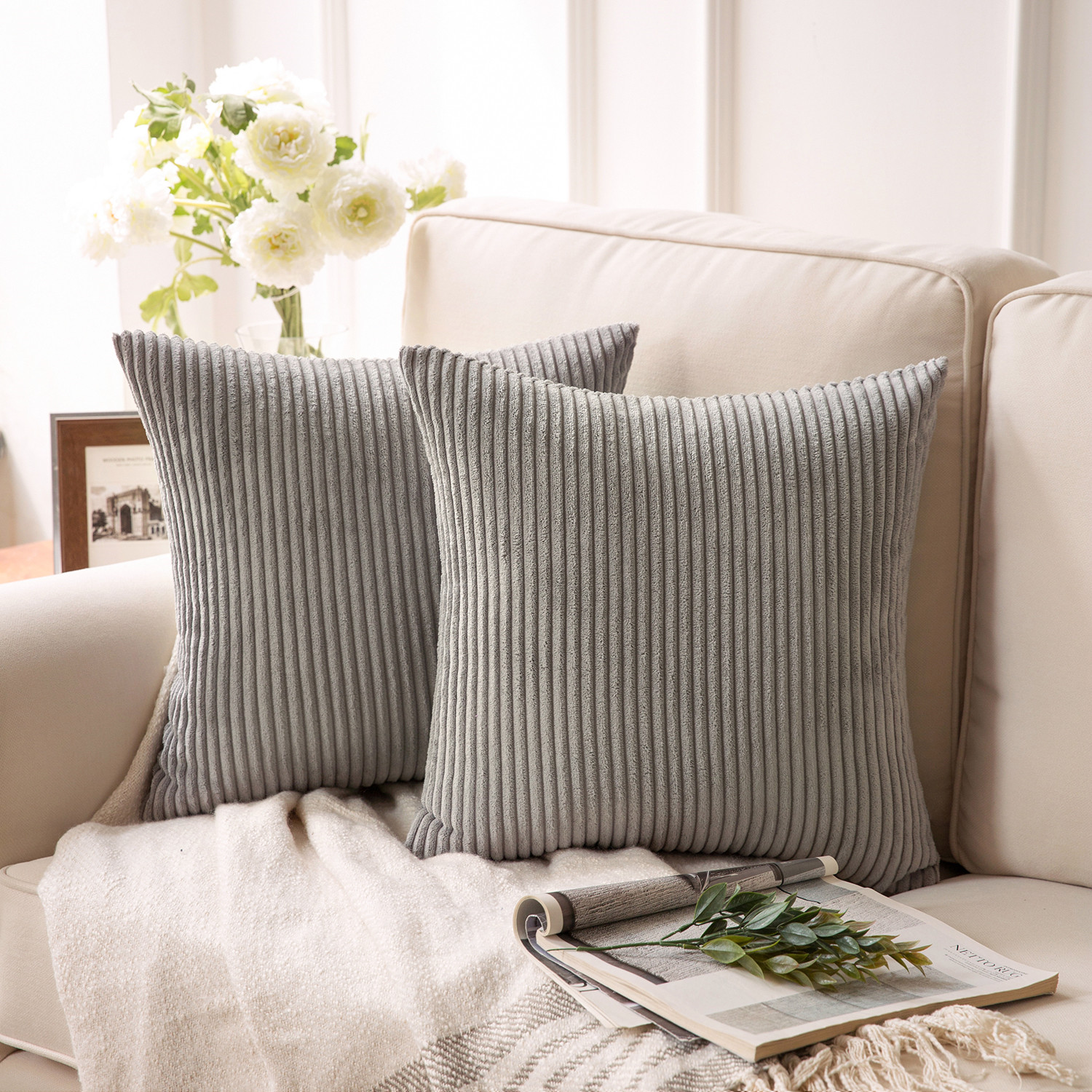 Winter Decor Pillow Covers Thanksgivining Soft Decorative Striped Corduroy Velve