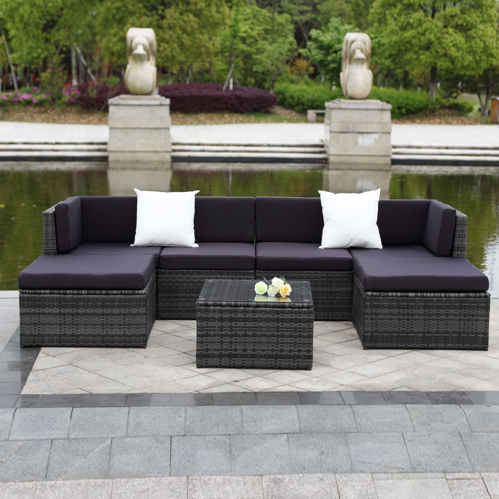 ikayaa 7pcs cushioned outdoor patio garden furniture sofa set ottoman corner couch sectional furniture rattan wicker walmartcom
