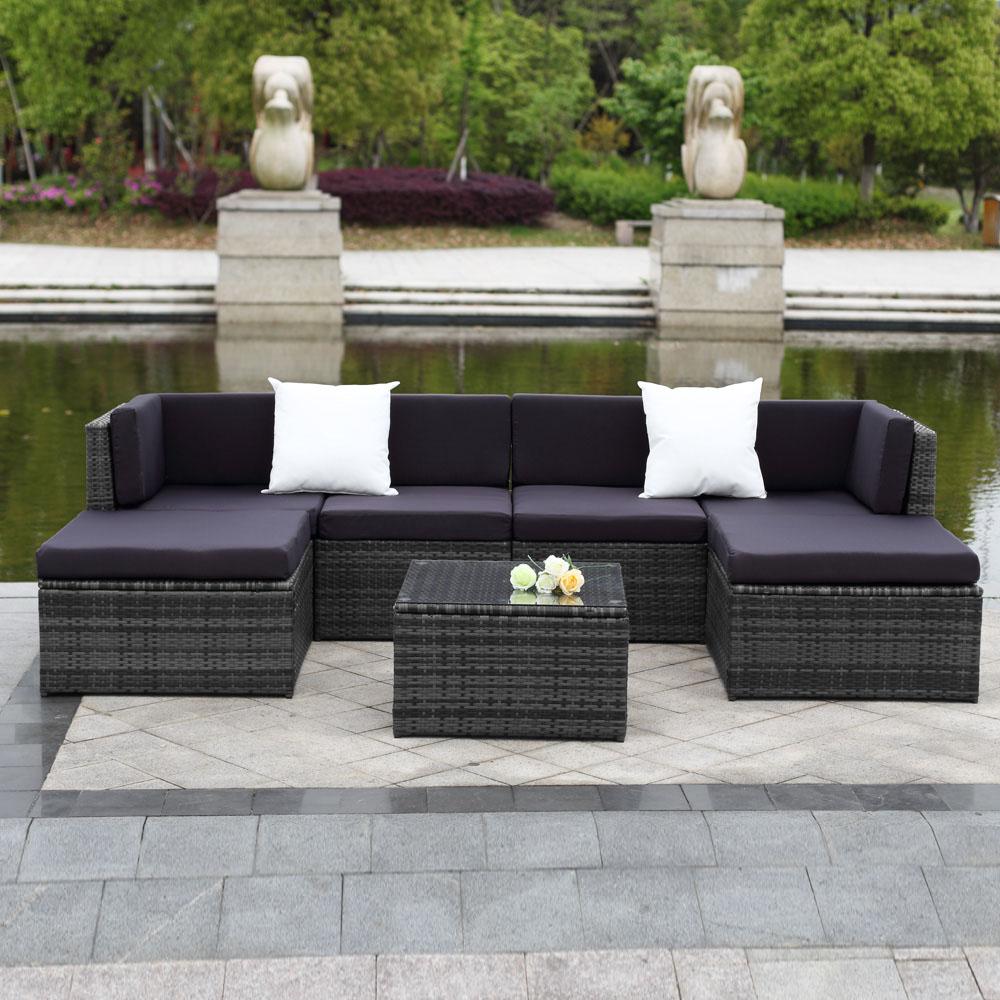 Garden Furniture Rattan ikayaa 7pcs cushioned outdoor patio garden furniture sofa set