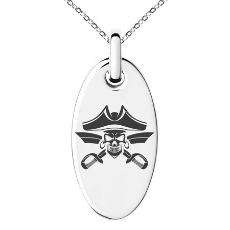 Pirate Swords Pendant (Stainless Steel Jolly Roger Skull Pirates Cross Swords Engraved Small Oval Charm Pendant Necklace)