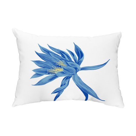 Hojaver 14x20 Inch Royal Blue Floral Decorative Outdoor Pillow