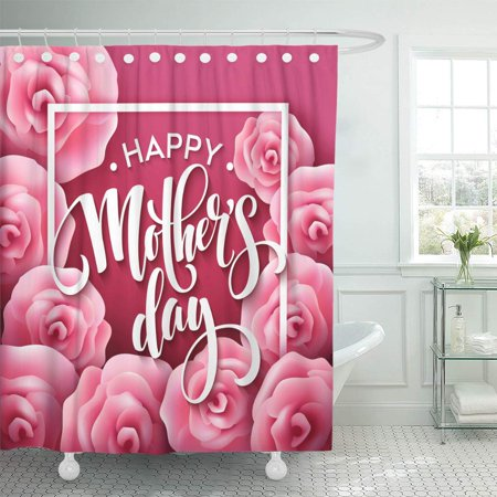 KSADK Red Abstract Happy Mothers Day Lettering with Blooming Pink Rose Flowers Best Shower Curtain Bathroom Curtain 66x72