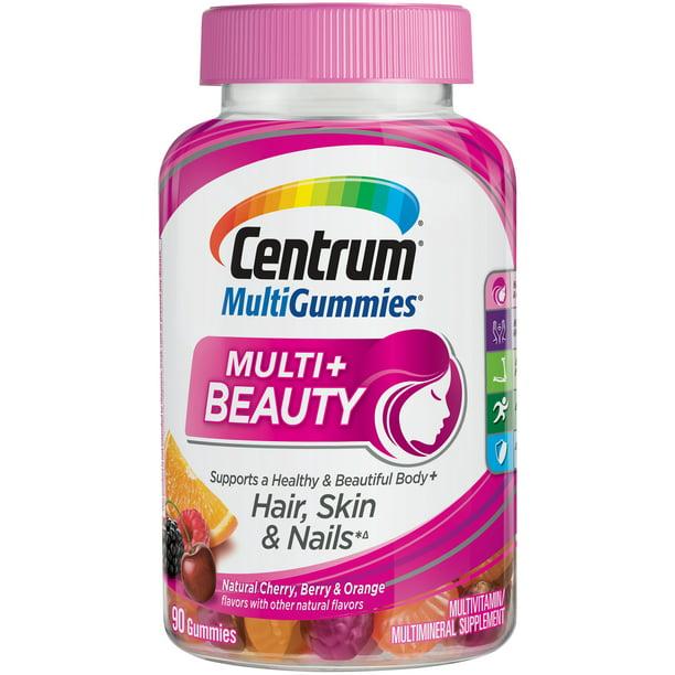 Centrum MultiGummies Plus Beauty Adult Multivitamin Gummies, 90 Ct