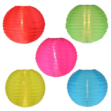 Set of 5 Multi-Color Chinese Lantern Garden Patio Lights - White Wire - image 1 de 1