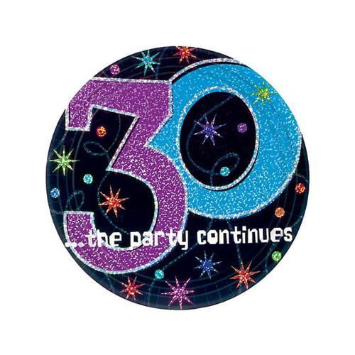 The Party Continues 30th Birthday Cake Plates - Party Supplies