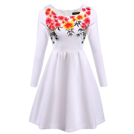 Women Vintage Floral Print Long Sleeve Cocktail Party Pleated Dress HFON