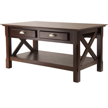 Winsome Wood Xola X Panel Coffee Table with Drawers, Cappuccino