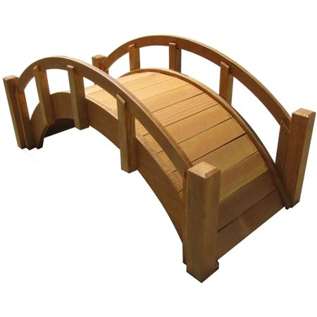 SamsGazebos Miniature Japanese Wood Garden Bridge, 25-Inch, Tan, (Japanese Garden Bridge)
