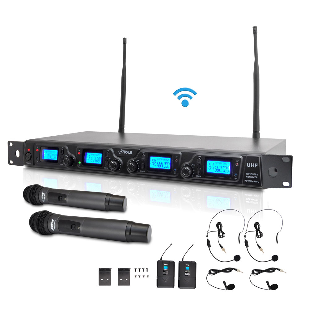 Pyle PDWM4350U - UHF Wireless Microphone System Kit, Adjsutable Frequency, Includes (2) Handheld Mics, (2) Beltpack Transmitters, (2) Lavalier Mics & (2) Headset Mics