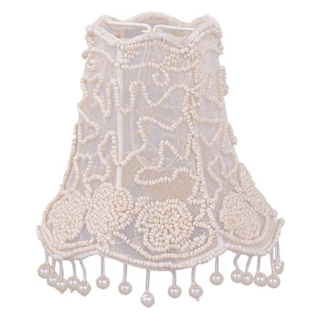 Crystorama Pearl Beaded Chandelier Shade with Dangling Pearls