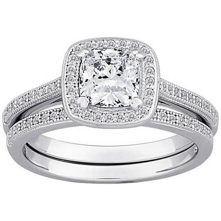 Majestic MicroPave CZ Sterling Silver Framed Cushion Cut 2 Piece Wedding Ring Set