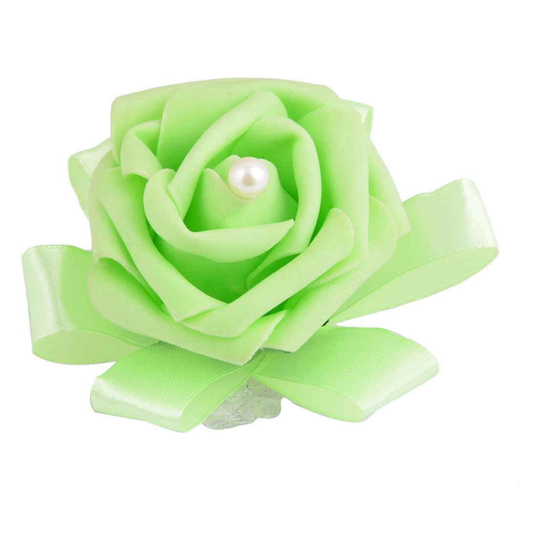 Unique Bargains Foam Rose Design Bridesmaid Hand Decorative Artificial Wrist Flower Light Green - image 3 of 3