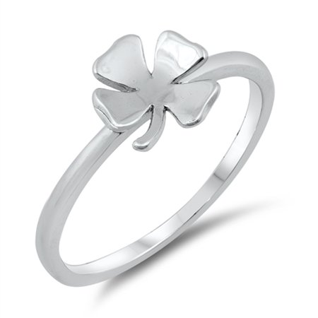 Simple Clover Good Luck Irish Charm Ring New 925 Sterling Silver Band Size 8
