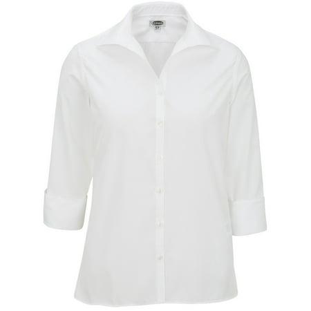 Open Button (edwards garments women's open neck matching button poplin blouse )