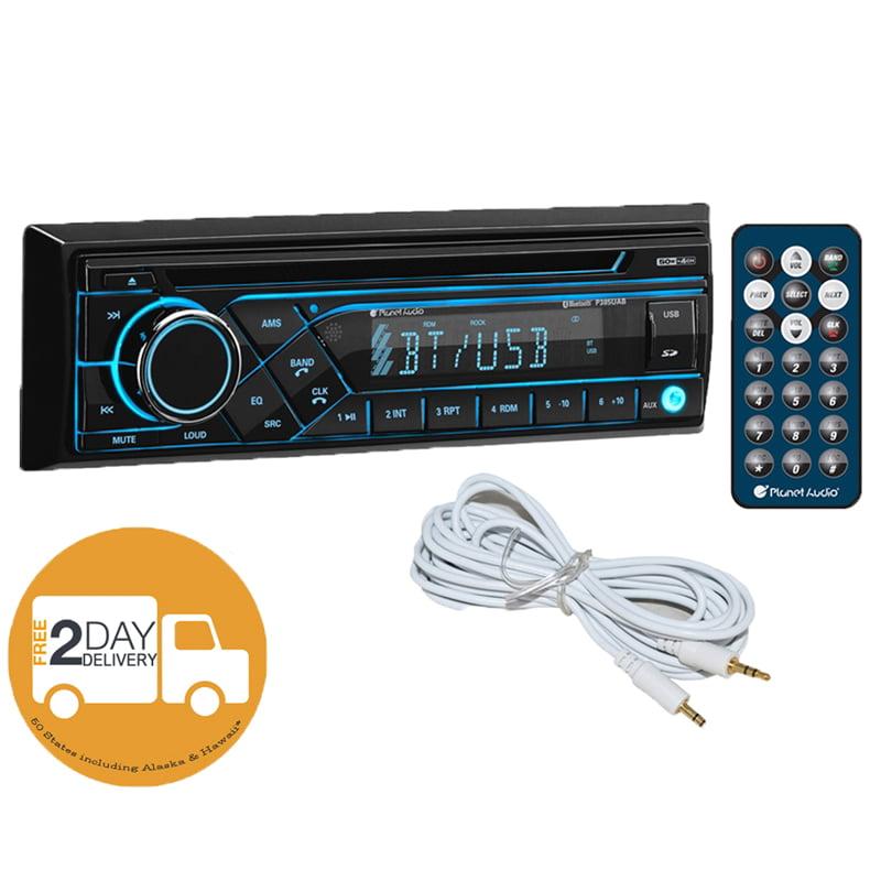 Planet Audio P385UAB Single DIN Bluetooth CD AM/FM Car Receiver + Free AUX Cable