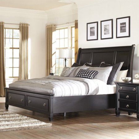 Ashley Greensburg Wood Queen Sleigh Drawer Bed In Black