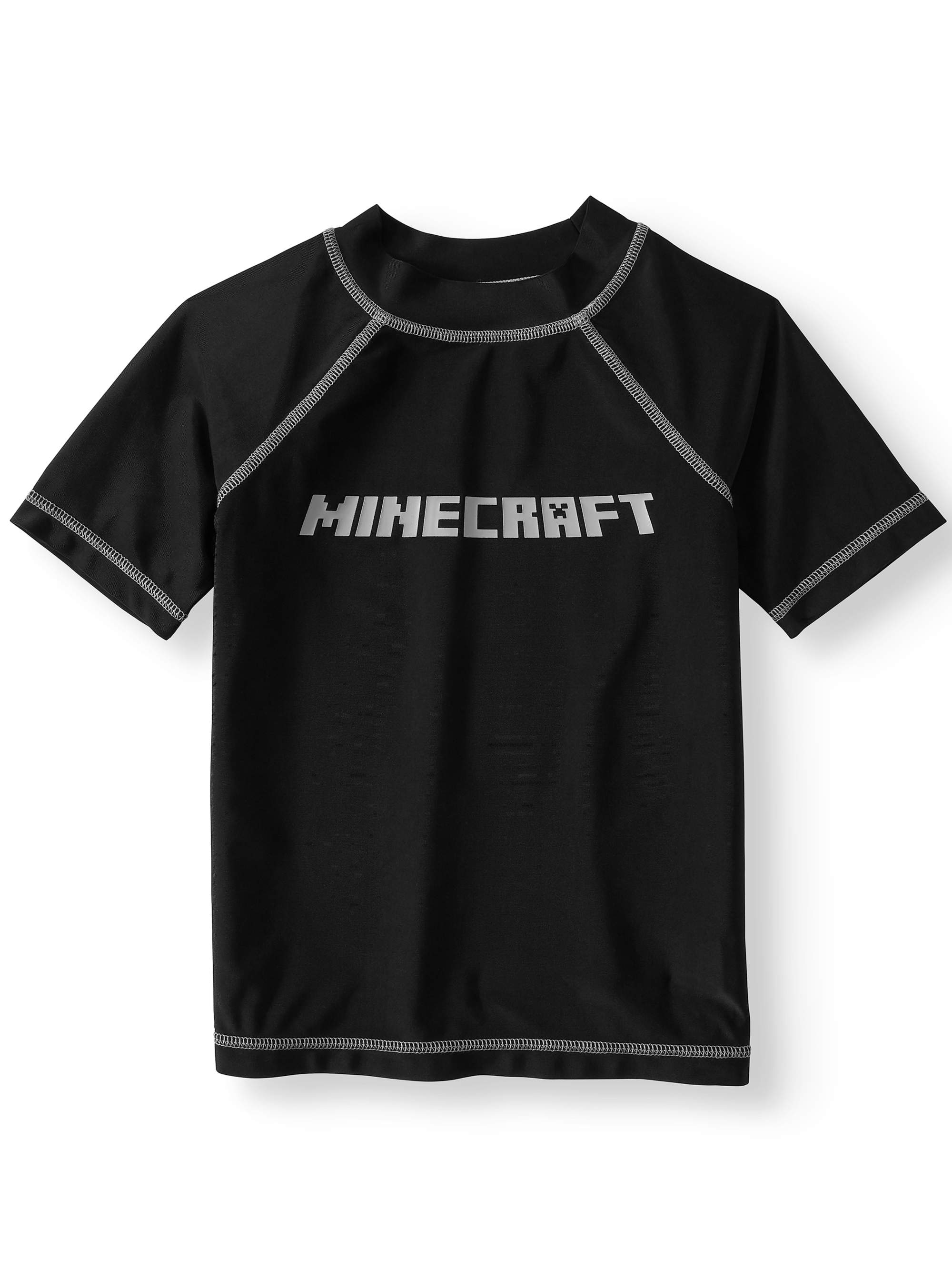 Minecraft Big Boys' Rash Guard Swim Shirt - Black