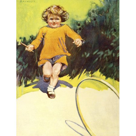 The Prize for Girls and Boys 1920s Girl with hoop Poster Print by  J - 1920s Girl