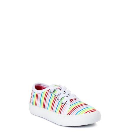 Wonder Nation Stripes & Polka Dots Laceless Sneaker, 2 Pack Bundle (Toddler Girls)