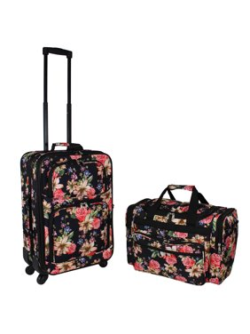World Traveler 2-Piece Carry-On Expandable Spinner Luggage Set - Rose Lily