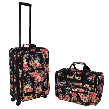 World Traveler 2-Piece Carry-On Expandable Spinner Luggage Set - Rose