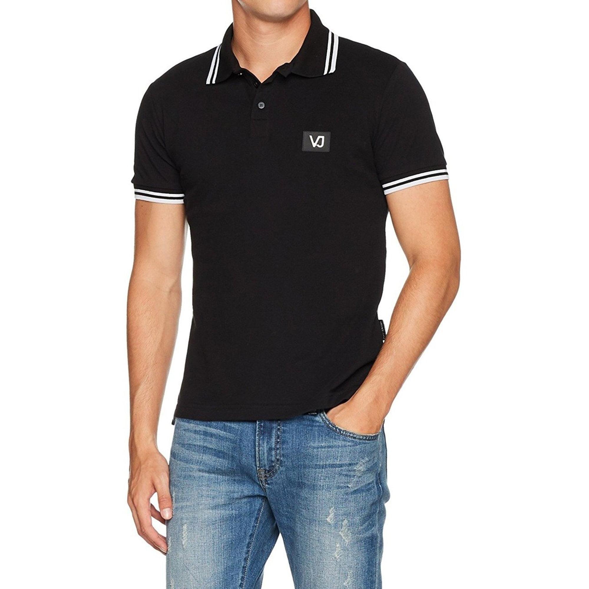 Versace - Versace Jeans Men's Black Pique Cotton Logo Polo T-Shirt (XXL) - Walmart.com