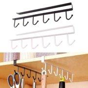 2PCS Kitchen Storage Rack Cupboard 6 Hooks Under-Cabinet Hanger Rack New