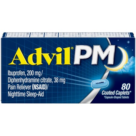 Advil PM (80 Count) Pain Reliever / Nighttime Sleep Aid Caplet, 200mg Ibuprofen, 38mg