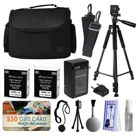 Buy Professional Full Size 60 Inch Tripod + Large Padded Case + EN-EL14 Battery (2 Pack) + Charger + $50 Gift Card for Prints for Nikon D5500 D5300 D5200 D5100 D3300 D3200 D3100 DSLR SLR Digital Camera Before Too Late