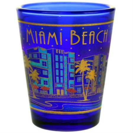Miami Beach Florida Skyline Metallic Blue Shot Glass agc