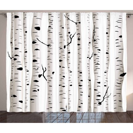 Birch Tree Curtains 2 Panels Set, Forest Seasonal Nature Woodland Leafless Branches Grove Botany Illustration, Window Drapes for Living Room Bedroom, 108W X 90L Inches, Black and White, by Ambesonne