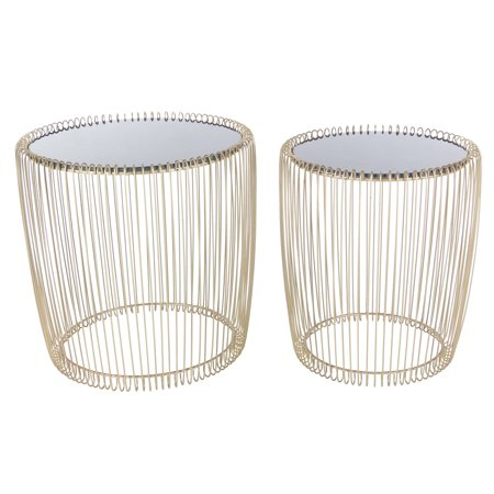 Decmode Set of Two - 17 and 18 Inch Contemporary Iron and Glass Round Cage Style Accent Tables, Gold ()