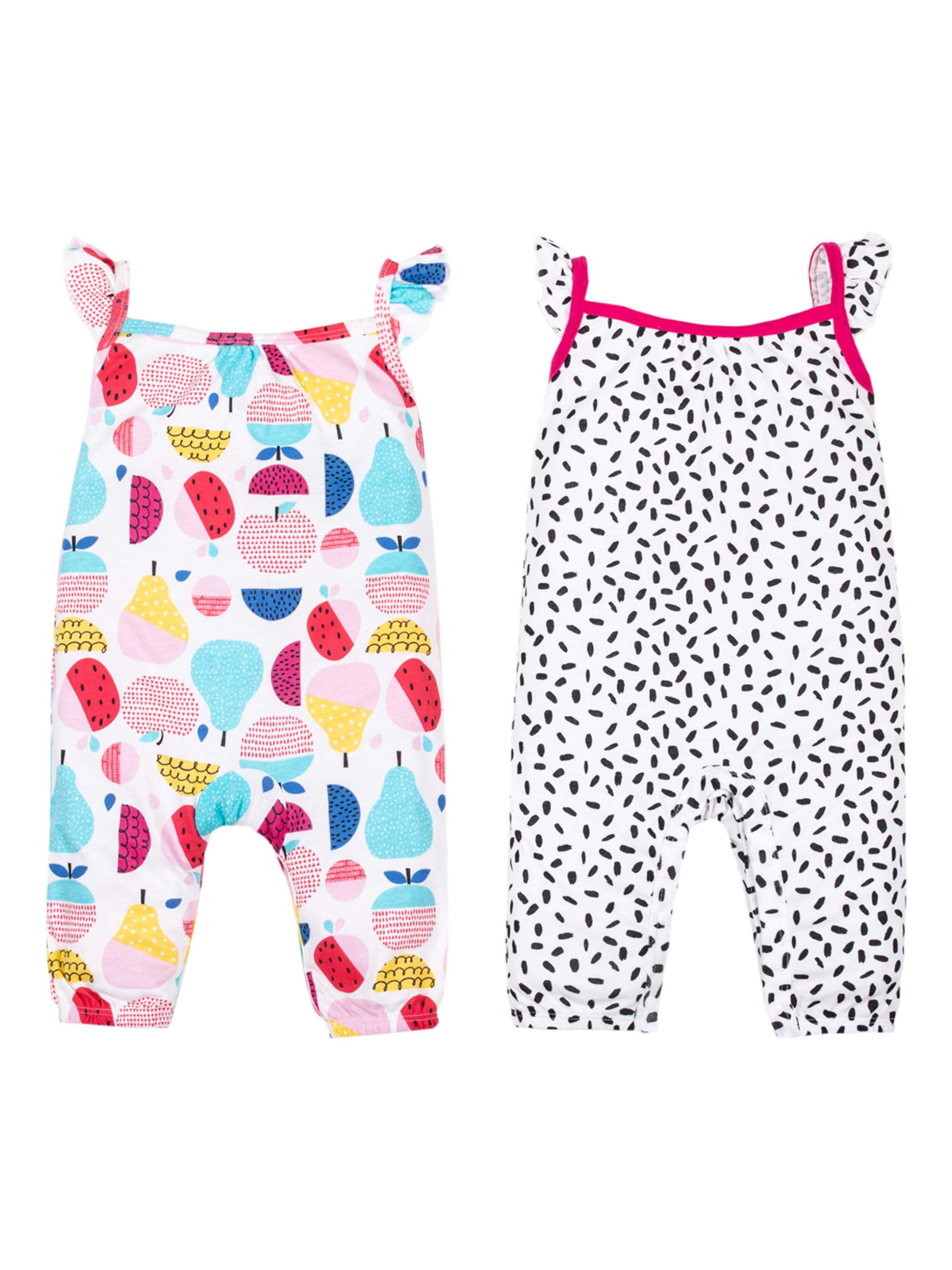 100% Organic Cotton Sleeveless One Piece Pants Rompers, 2-pack (Baby Girls)