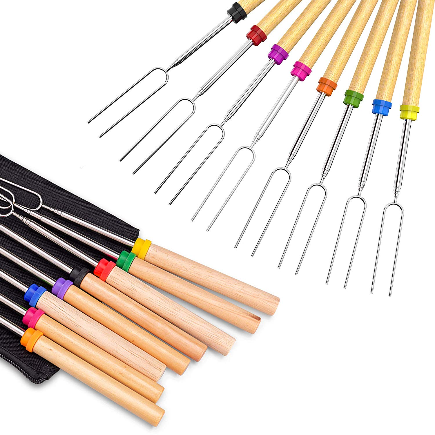 Extendable Forks Telescoping Smores Skewers for Smores and Hot Dog Fire Pit Camping Cookware Campfire Cooking Kids no branded Marshmallow Roasting Sticks