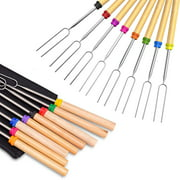Marshmallow Roasting Sticks, 32 Inch Extendable Barbecue Forks, Campfire Smores Skewers Sticks for Fire Pit, Telescoping Forks of BBQ Camping Campfire Accessories