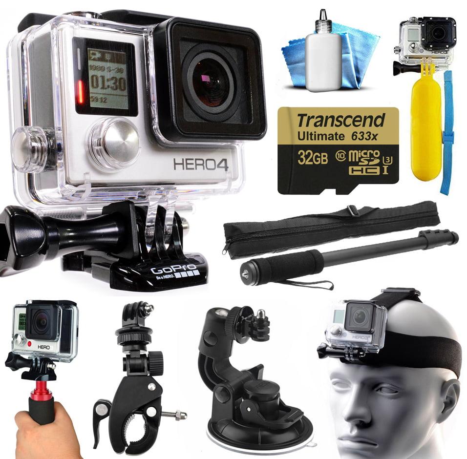 GoPro Hero 4 HERO4 Black Edition 4K Action Camera Camcorder with 32GB MicroSD Card, Selfie Stick, Handlebar Mount, Windshield Cup, Helmet Strap, Floating Bobber, Mini Tripod, Cleaning Kit GOPRO4BCAM32GBK6V3