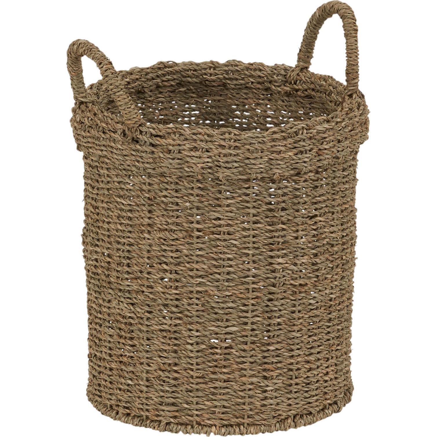 Household Essentials Round Seagrass Basket with 2 Handles