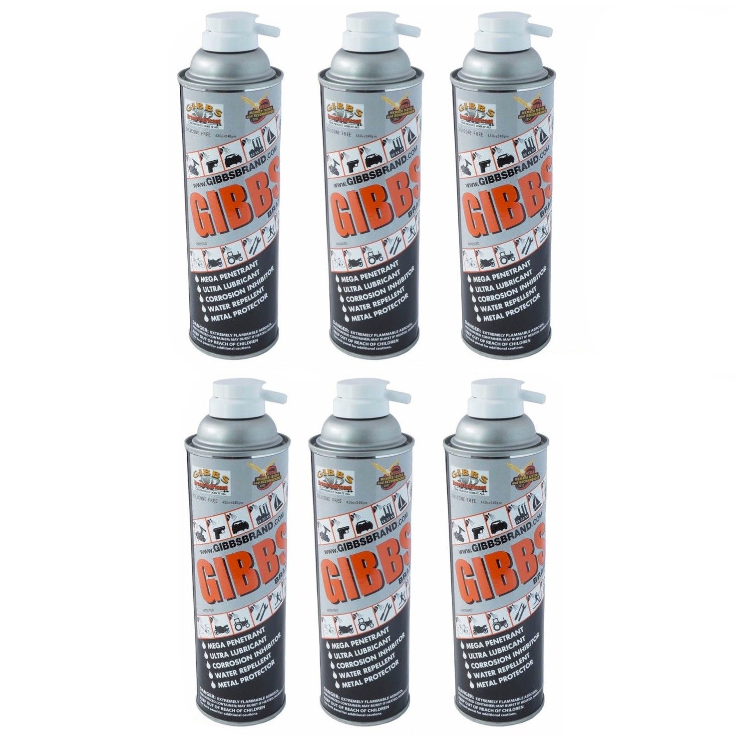 Gibbs Brand Lubricant 12 oz Spray Can, Set of 6