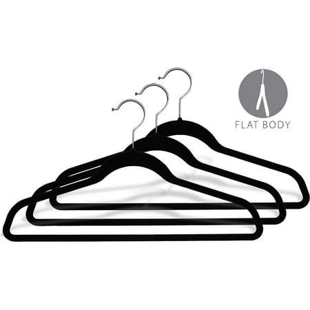 - Black Velvet Ultra Thin Slimline Hanger w/ Fixed Bar, (Box of 50) Space Saving Suit Hangers w/ Chrome Swivel Hook for Shirt and Pant by International Hanger