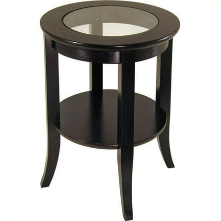 Winsome Wood Genoa Round End Table with Glass Top, Espresso Finish
