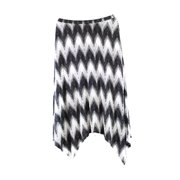 Bobeau NEW Black White Chevron Women's Large L Asymmetrical Maxi Skirt