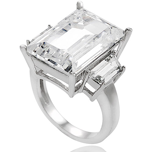 Alexandria Collection Sterling Silver Celebrity Inspired Cubic Zirconia Engagement Ring