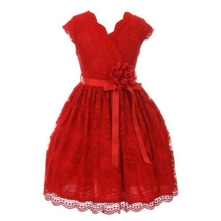 Little Girls Red Flower Border Stretch Lace Stylish Special Occasion Dress](Little Girls Special Occasion Dress)