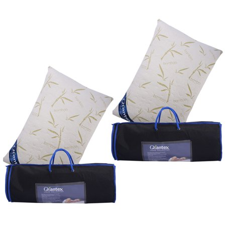 Set of 2 King Size Bamboo Shred Memory Foam Hypoallergenic Pillow Carry Bag